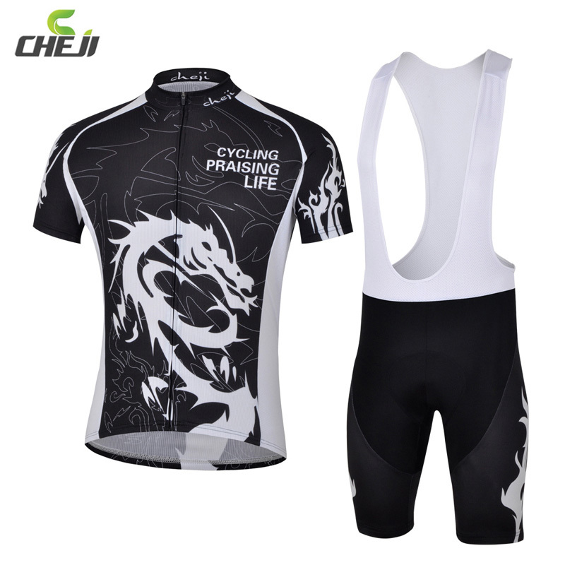 CHEJI Dragon Bicycle Suit 3D GEL Padded Tights T-Shirts Bicycle Cycling Jersey Bib Shorts Set Mountain Bike Bicycle Shorts Sets rusuoo k01007 bicycle cycling jersey bib shorts set white black size xl 175 180cm