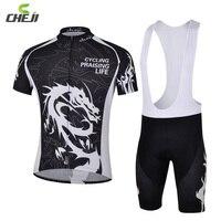 CHEJI Dragon Bicycle Suit 3D GEL Padded Tights T Shirts Bicycle Cycling Jersey Bib Shorts Set Mountain Bike Bicycle Shorts Sets