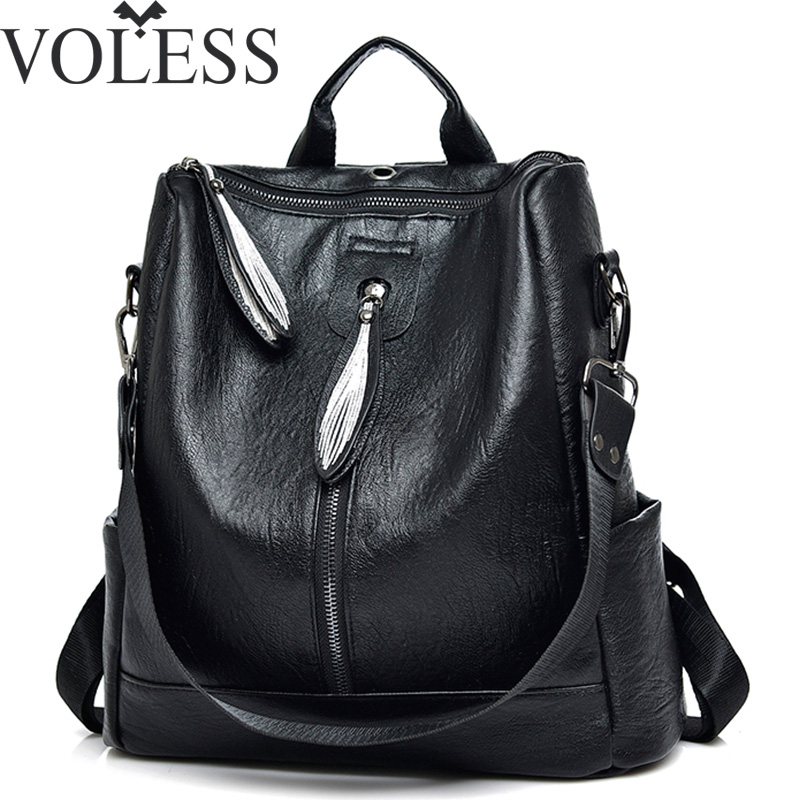 VOLESS High Quality PU Leather Women Backpack Fashion Solid School Bags For Teenager Girls Leaves Pendant Casual Black Backpacks fashion women backpack high quality pu leather mochila school bags teenager girls backpacks travel bags wb002