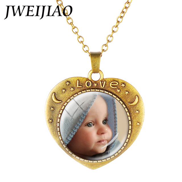 JWEIJIAO Personalized Photo Custom Necklace Your Baby Son Daugter Mom Dad Lovers Families Pet The Best