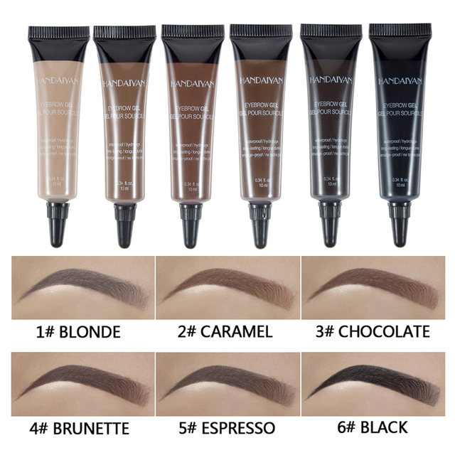 HANDANYAN Eyebrow Enhancer Makeup Henna Eyebrow Gel 6 Color Black Brown Waterproof Liquid Eye Brow Tint Brush Sets 3