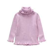 Baby Girls Winter Sweaters Children Kids Knitted Pullover Solid Color Warm Outerwear Baby Turtleneck Sweater Red Purple Pink