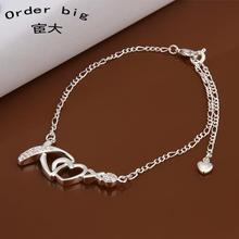 A002 // Promotion Factory Price 925 jewelry silver plated popular anklets Chain,wholesale fashion Foot Chain
