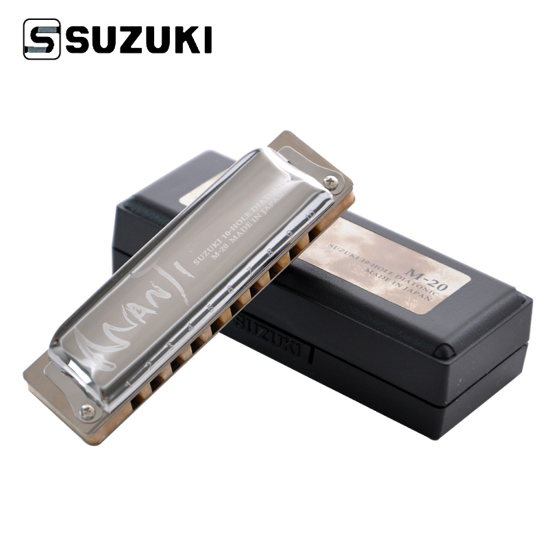 Suzuki M-20 Manji 10-Hole Diatonic Harmonica/ Blues harp Professional Harmonica, Country Tuning, Key of C / F / E suzuki c 20 olive 10 hole diatonic blues harmonica major key of c a d g e f plugb