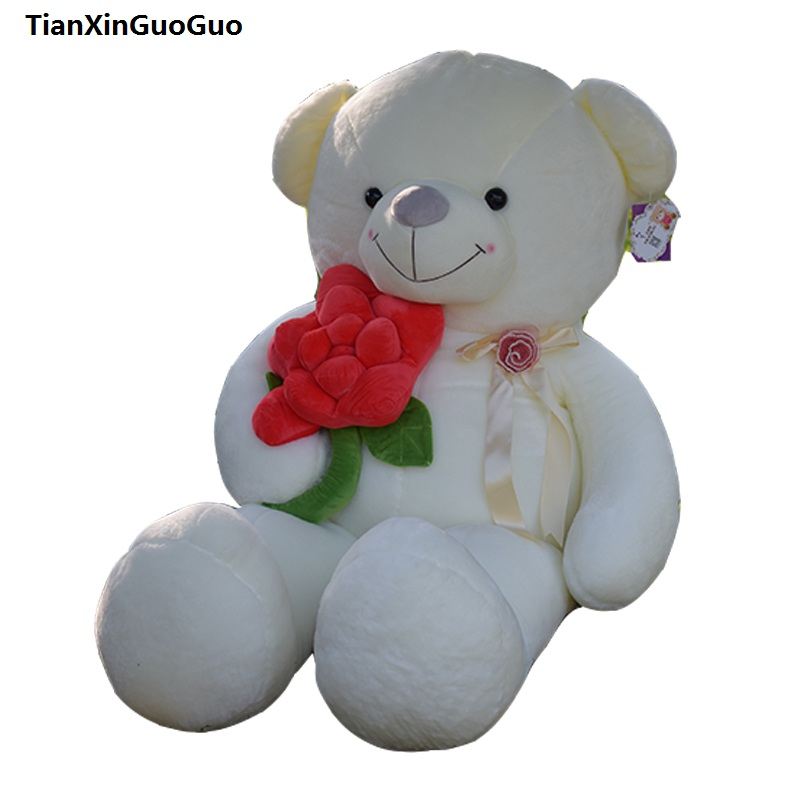 stuffed fillings toy large 100cm hug red rose flower white teddy bear plush toy soft doll throw pillow birthday gift s0620 stuffed animal 140cm white teddy bear plush toy soft doll throw pillow gift w1690