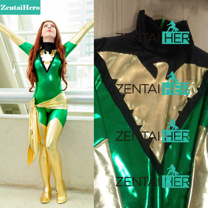 Free Shipping DHL Dark Phoenix Jean Grey Costume Sexy Green And Black Shiny Superhero Zentai Catsuit Halloween Costume With Belt free shipping dhl custom made new arrival sexy red pvc zentai catsuit zentai suit for halloween party front zipper zp1508
