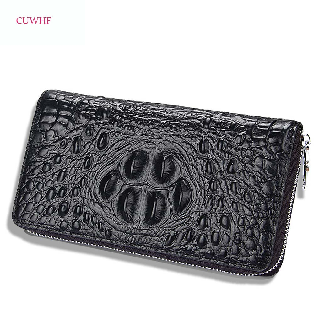 Classic Crocodile pattern leather Men wallets long zipper purse for men clutch business Male Wallet Vintage Large Wallet Purse