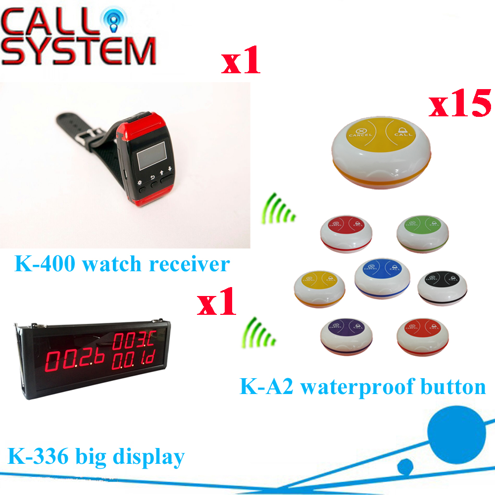 Restaurant Pager System Factory Price Of 433.92MHZ Wireless Buzzer Bell Equipment( 1 display+1 wrist pager+ 15 call button) restaurant pager watch wireless call buzzer system work with 3 pcs wrist watch and 25pcs waitress bell button p h4