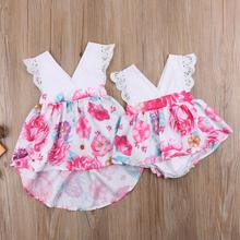 Sister Matching Floral Flare Sleeveless Dress Romper Casual Fashion Backless Elastic Waist Big sister Little Clothes Sets