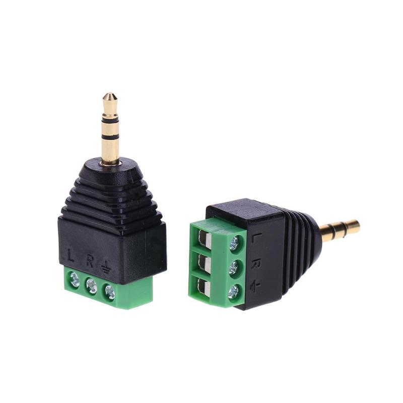 2pcs Jack 3.5mm Gold-plated Terminal Block Plug Connector Adapter Converter Male 3pin Dual Channel AV Stereo Audio Green Current