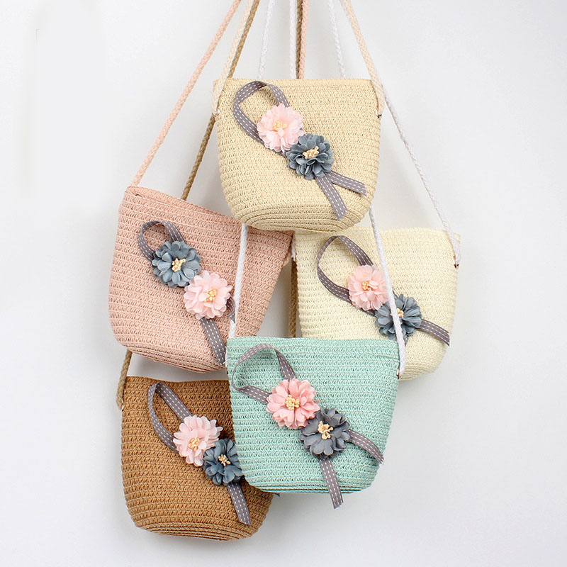 5 Colors Summer Children Girls Shoulder Bag Beautiful Flower Straw Messenger Bag Kids Keys Coin Purse Cute Princess Mini Handbag