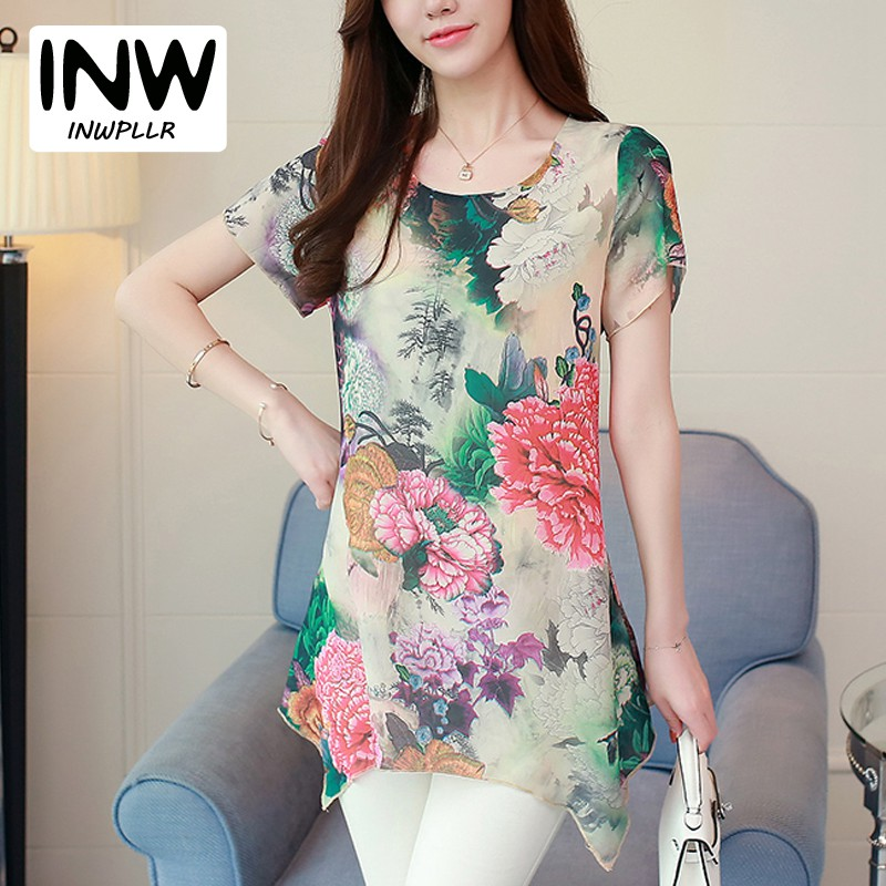 Women Blouses Shirts Flower Printed Tops Ladies 2018 Fashion Long Chiffon Blouse Womens Short Sleeve Plus Size Blusa Feminina-in Blouses & Shirts from Women's Clothing on AliExpress - 11.11_Double 11_Singles' Day 1