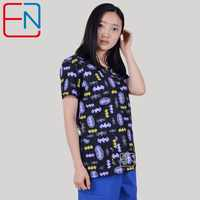 Brand medical scrub tops for women surgical scrubs,scrub uniform in 100% print cotton Chengse maotouying