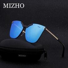 MIZHO Brand Original Unisex Polarized Sunglasses For Women Cat eye Mirror UV Traveling Colored Rimless Sun Glasses Clear Visual