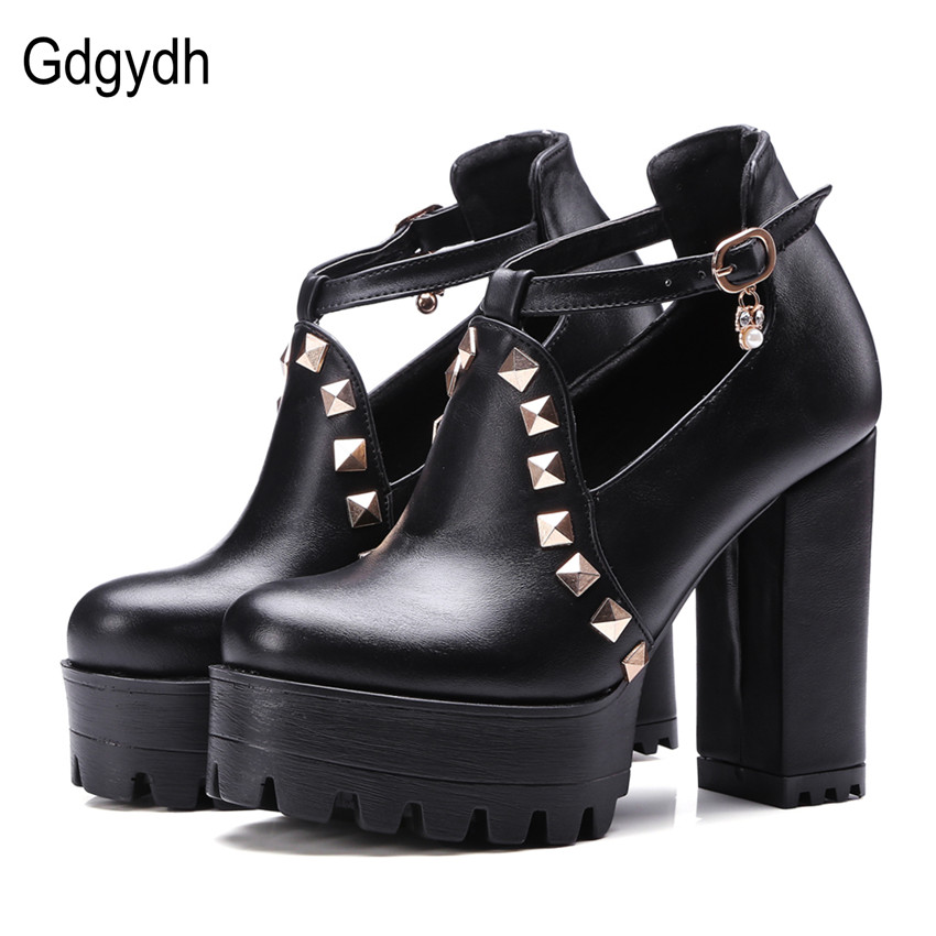Gdgydh 2017 New Spring Buckle Casual Shoes Women High Heels Fashion Rivets Platform Russian Ladies Shoes Crystal Big Size 43 new fashion spring autumn women shoes platform high heels buckle strap thick heels pumps lady shoes small big size 31 43 0061