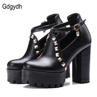 Gdgydh 2017 New Spring Buckle Casual Shoes Women High Heels Fashion Rivets Platform Russian Ladies Shoes
