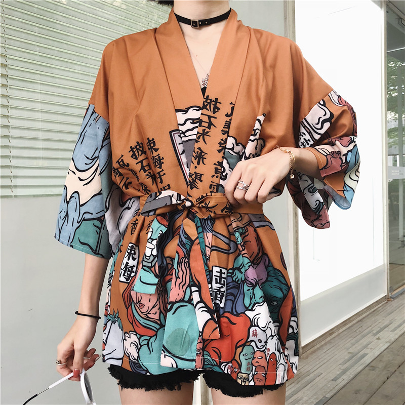 2ab8802ad8652 Harajuku BF Wind Japanese-style Feather Weaving Blouse Men and Women Kimono  Chiffon Printing Sunscreen ...