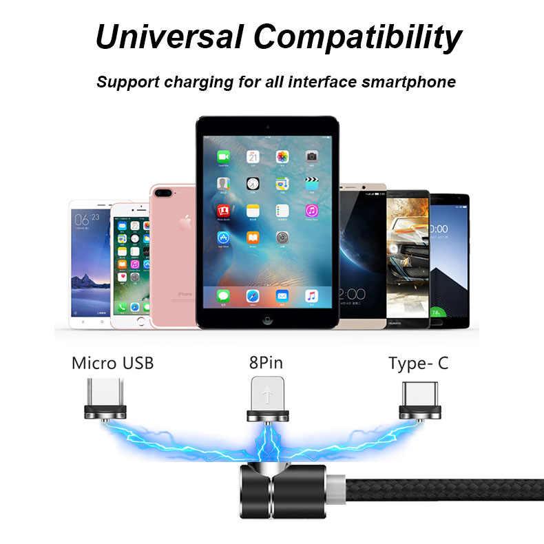 90 度 LED 磁気高速充電ケーブル iphone XR XS 最大 8 + サムスン XIAOMI HUAWEI 社タイプ C 磁気 USB 電話充電器ワイヤー