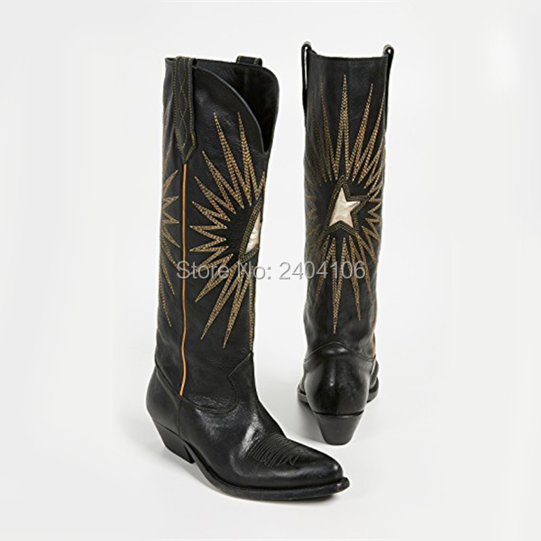 Shooegle Brand Western Retro Style Autumn Winter Cowboy Boot Pointed Toe Block Heels Black Brown Leather Embroidered Boots Women