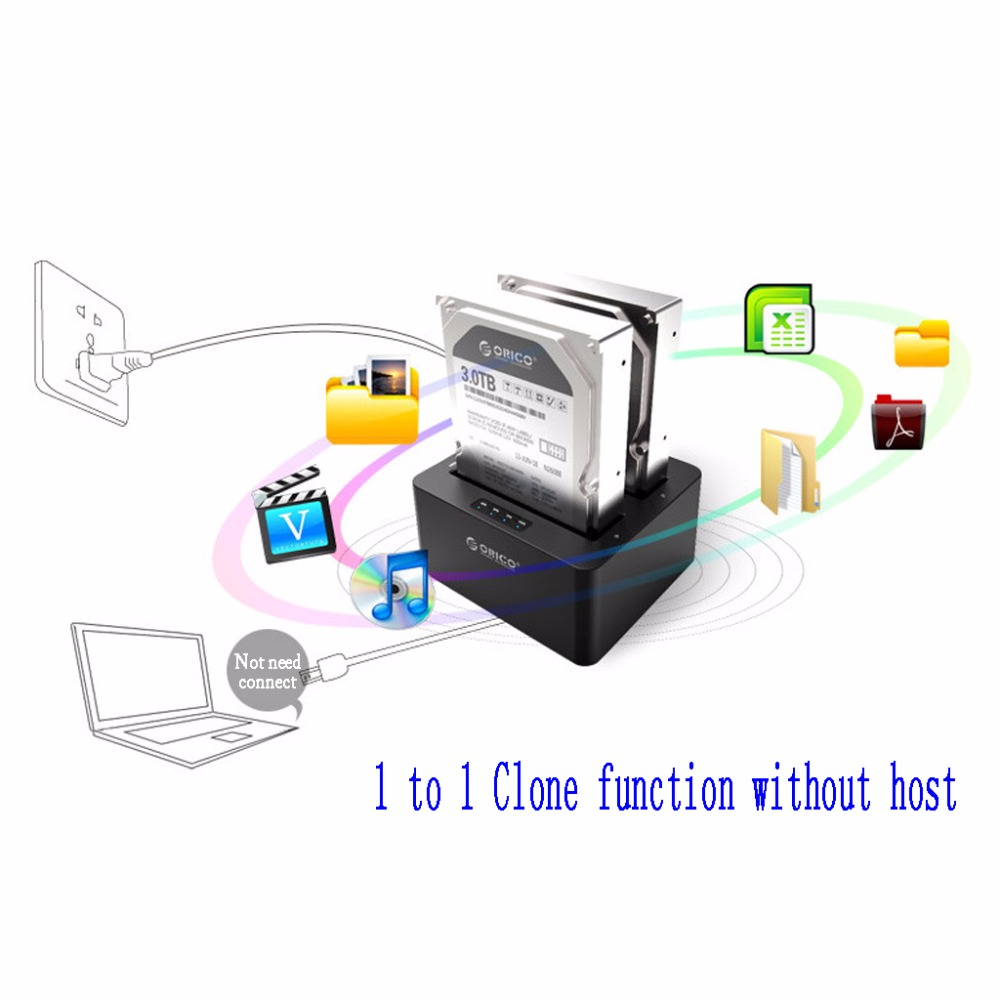 USB 3.0 Dual-Bay 2.5/3.5 Hard Drive Clone Dock SATA HDD SSD Docking Station