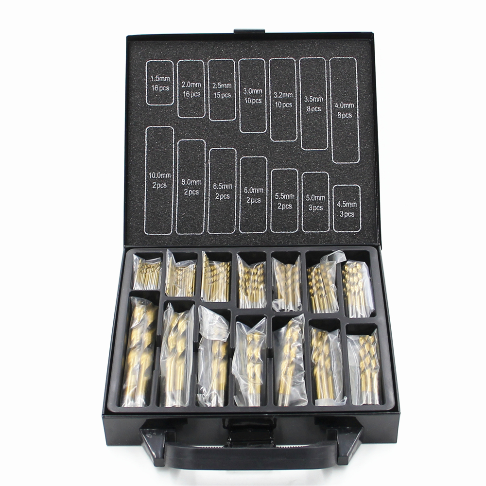 Free shipping Iron Box packing 99PCS HSS Twist Drill Bits Set 1.5-10mm Titanium Coated Surface 118 Degree For Drilling Metal 13pcs lot hss high speed steel drill bit set 1 4 hex shank 1 5 6 5mm free shipping hss twist drill bits set for power tools