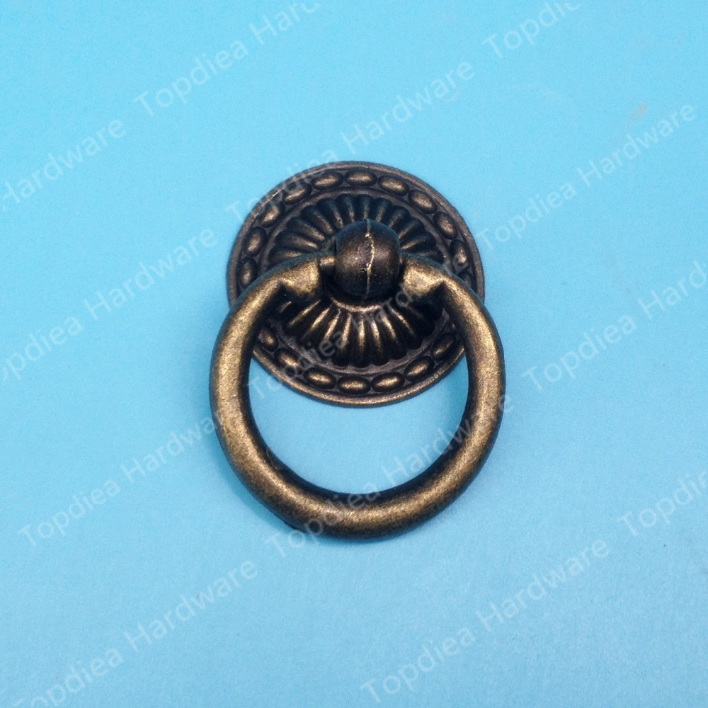 Size 48x32mm Euro Style Vintage Pulls Round Ring Handle Antique ...