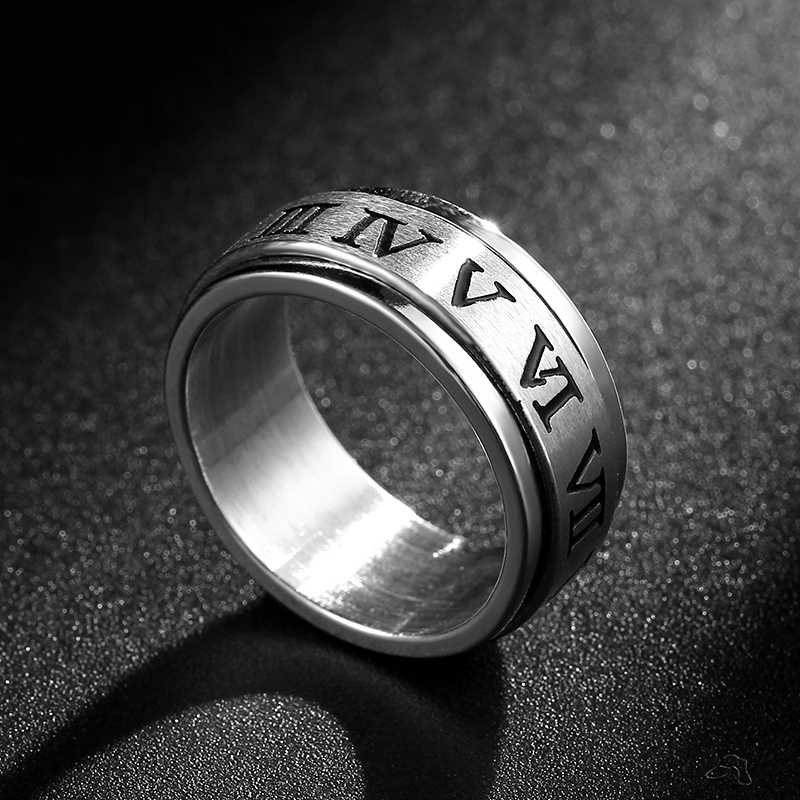 8mm Rotated Titanium Ring for Men and Women Roman Numerals