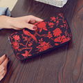 Hot New Soft Embroidery Floral Print Women Wallet Purse Flowers Female Long Luxury Brand Wallet Women Cute Blue Day Lady Clutch