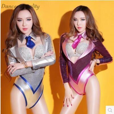 Ds bodysuits sexy nightclub dj female singer suit Siamese suit high fork jazz dance service European and American bar sexy dress