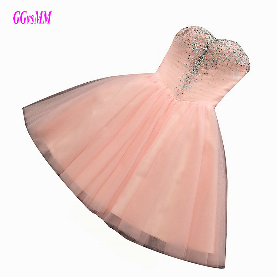 Sexy Pearl Pink Plus Size Short Prom Dress 2018 Prom Dresses Sweetheart Tulle Srystal Lace Up Party Gown Evening Fast delivery