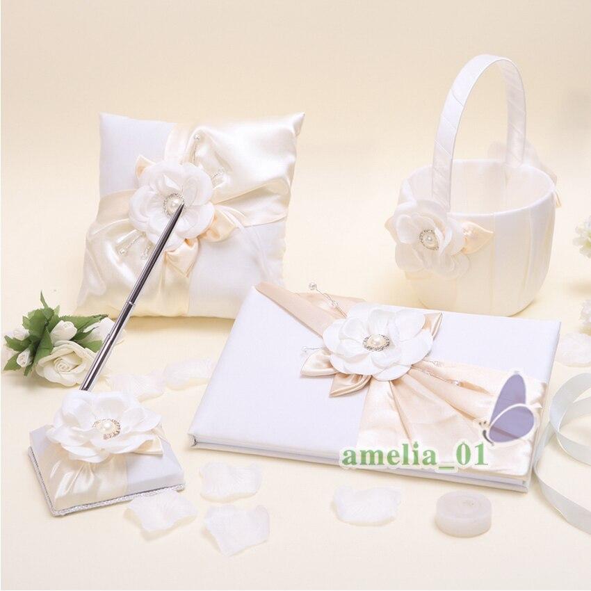 4 Pcs/lot décor perle strass l'ensemble de mariage fréquentation livre signe stylo anneau oreiller fleur panier produits de mariée