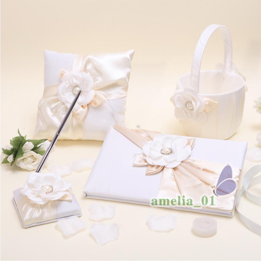 4 ピース/ロット装飾真珠は結婚式のセットの出席簿記号リングピローフラワーバスケットブライダル製品  グループ上の ホーム&ガーデン からの パーティー用自作デコレーション の中 1