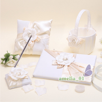 4Pcs/lot Decor pearl rhinestone the wedding set attendance book sign pen ring pillow flower basket Bridal Products