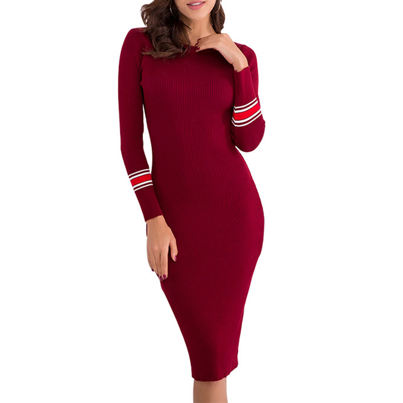 Women Autumn Winter Slim Knit Long dress Striped Warm O Neck Solid Color Sleeve Bottoming Sweater Dress