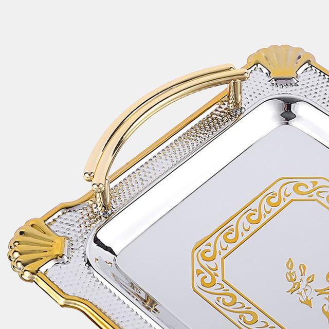 Jinserta bandeja de armazenamento de metal jóias placa de exibição retro sobremesa bolo de frutas placa com alça para festa de casamento em casa decoração