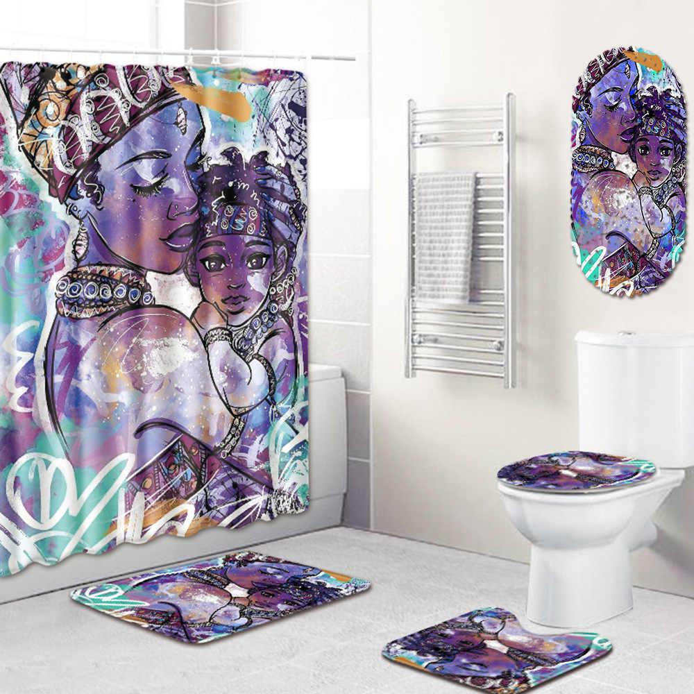 Moda afrykańska kobieta wzór poliester prysznic zestaw zasłon antypoślizgowe dywaniki dywan dla toaleta wc flanelowe zestaw mat do kąpieli 4 sztuk/