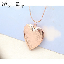 Magic Ikery New Necklaces Rose Gold Color Photo Box floating Big Heart locket Necklace flowers Fashion