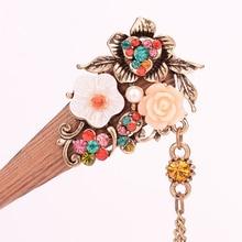 Rhinestone Flower Wood Hair Stick