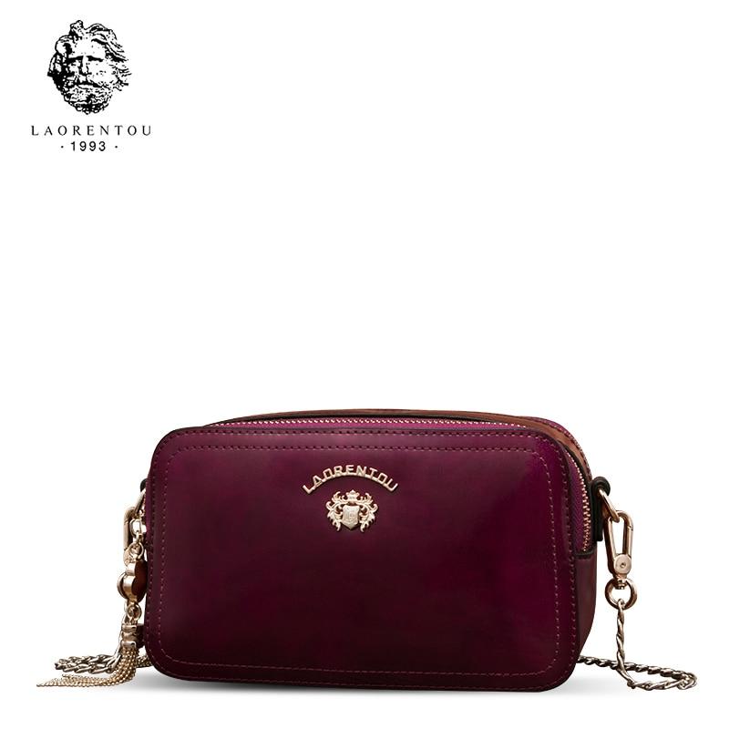 Laorentou Brand Women Shoulder Bag Leather Crossbody Bags for Female Retro Chain Flap Clutch Bag Valentine's Day gift
