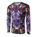 Nueva Llegada de Los Hombres de Impresión 3D León Púrpura de La Manga Completa T-Shirt masculino o-cuello colorido animal t shirt marca clothing otoño desgaste clothing
