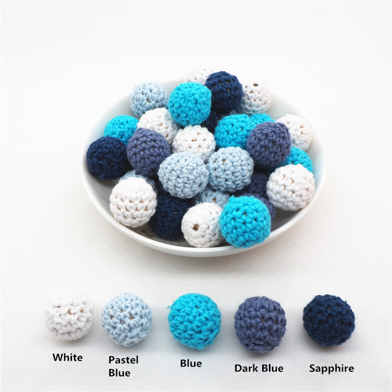 Chenkai 50pcs 16mm 20mm Knitting Crochet Wood Beads DIY Baby Pacifier Dummy Teether Wooden Ball Jewelry Sensory Toy Boy Series
