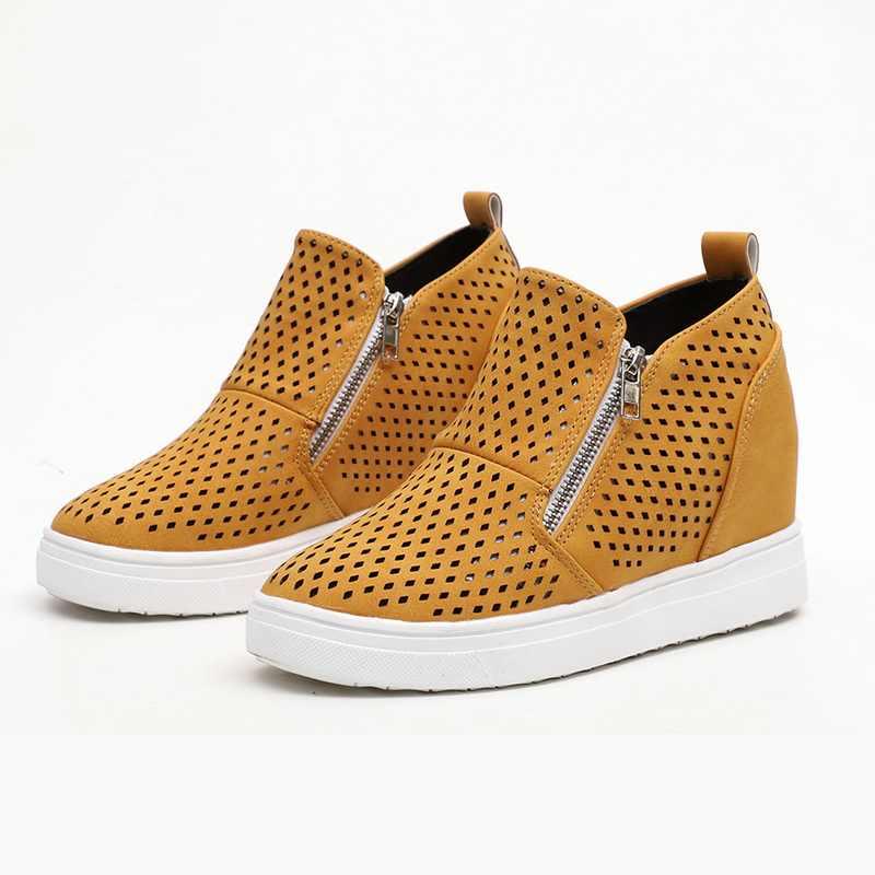 Vrouwen PU Lederen Sneakers Lente Herfst Vrouwelijke Vulcanizate Schoenen Platform Casual Platte Schoenen Lady High-tops Sleehak Sneakers