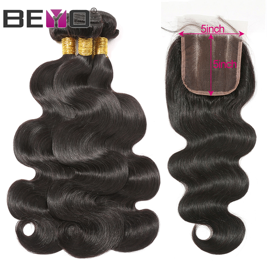 Body Wave Bundles With Closure Brazilian Hair Weave Bundles 5x5 Lace Closure Human Hair Bundles With