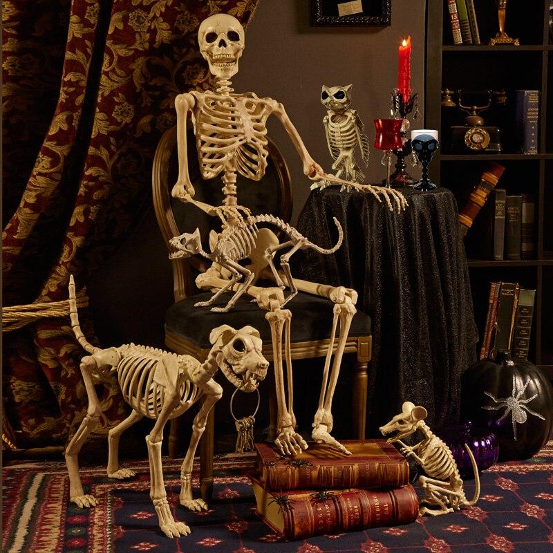 Esqueleto animal 100% plástico esqueleto huesos Horror Halloween Navidad Prop Animal Crow esqueleto decoración Año Nuevo