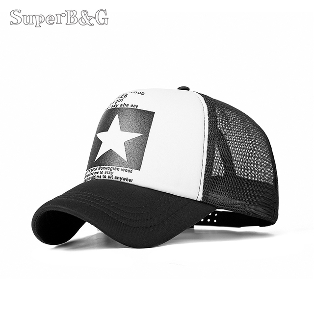 SuperB&G Fashion Summer Baseball Cap Women Men Mesh Breathable Snapback Cap Unisex Adjustable Sport Hats Dad Hat Bone