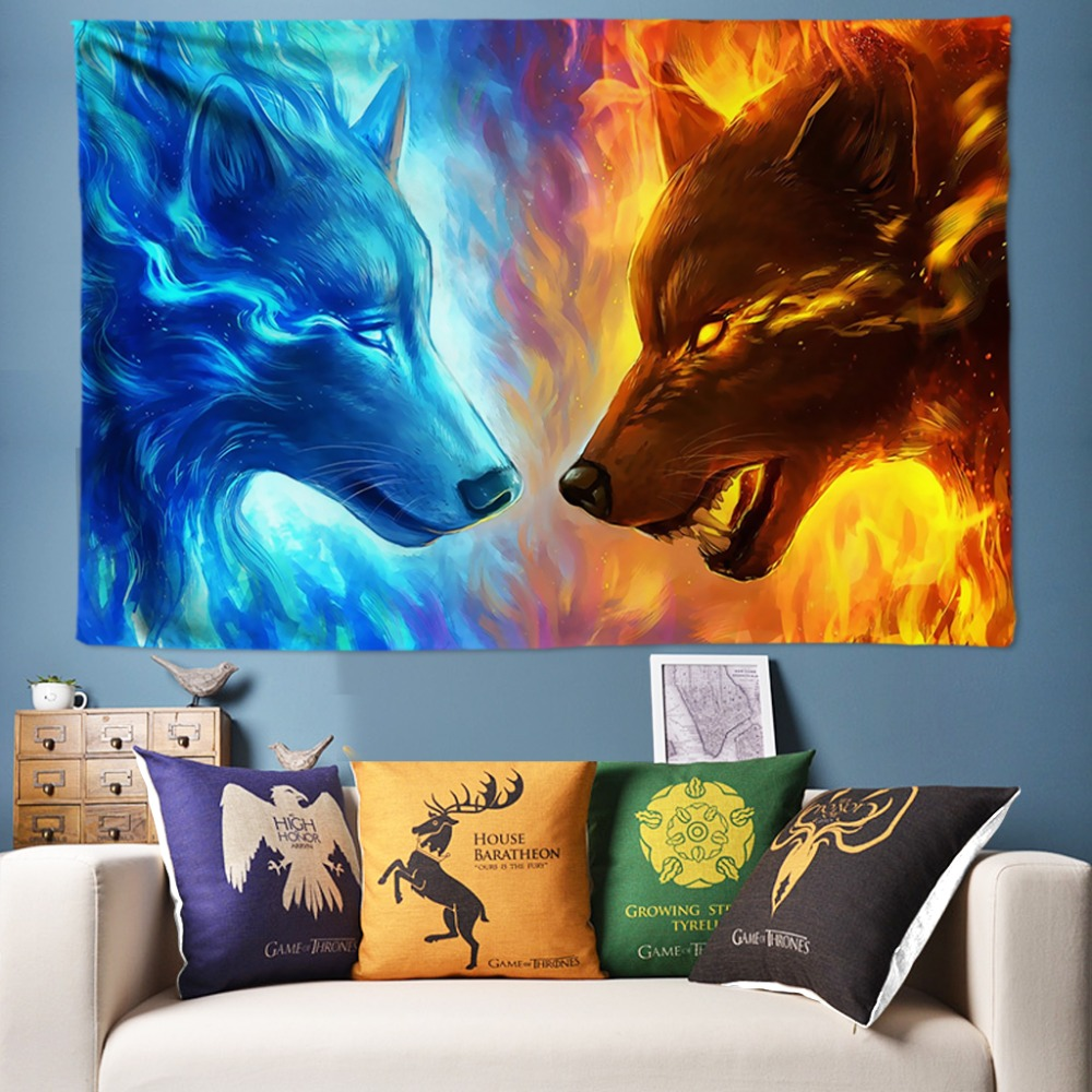 3D Wolf Tapestry Blue and Yellow Fire Dorm Decor Wall Hanging Bed Sheets Tapisserie Murale 200x300cm Big Tapestry Wall Fabric image