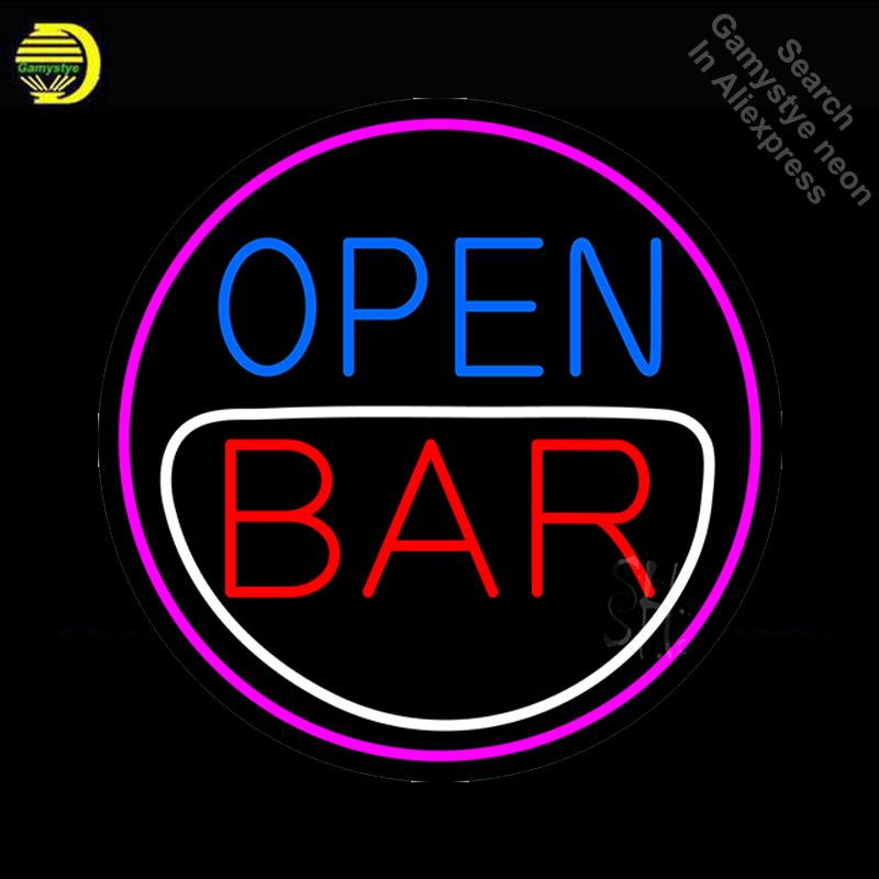 NEON SIGN For Round Bar Open neon Light Sign Beer Club Advertise Window Hotel vintage Neon sign for sale neon light Art Lamps