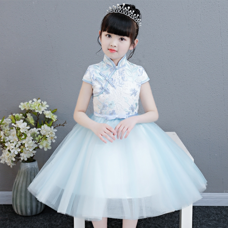 2018 fashion Children Girls Chinese traditional style qipao cheongsam dress Babies Birthday Wedding Party Piano Costume Dress short modern cheongsam chinese dress robe vietnam ao dai chinese traditional dress chinese dress qipao chiffon