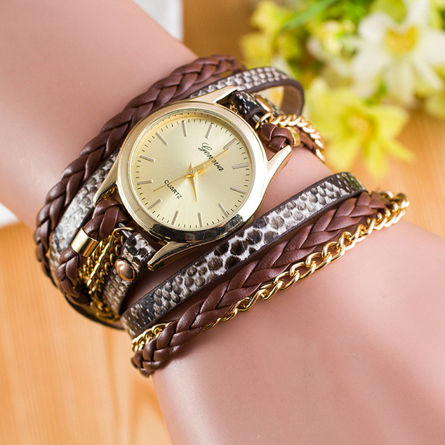 New Fashion Wrap Around Bracelet Watch Synthetic Leather Chain Watch Clock Uhren