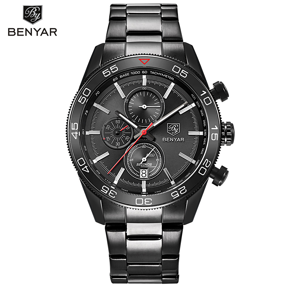 Men Watch Stainless Steel Black Chronograph Sports Wrist Watches Fashion Business Quartz-watch Male Military Clock montre homme daybird stainless steel quartz wrist watch black 1 x lr626